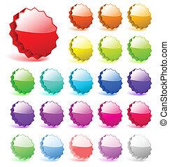 perfecto, añadir, conjunto, text., iconos, formas, vector, reflexiones, shadows., 3d