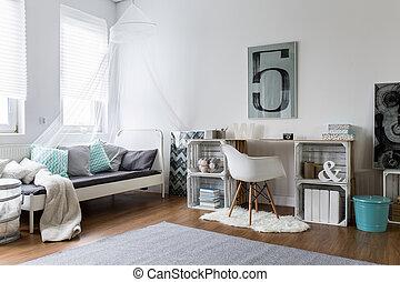perfecto, cómodo, dormitorio, hipster, elegante
