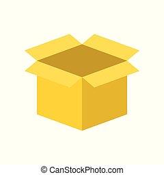 perfecto, caja, plano, diseño, pixel, vacío, icono