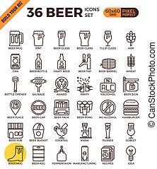 perfecto, contorno, iconos, cerveza, arte, pixel