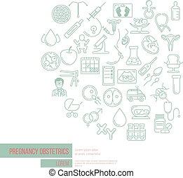 perfecto, creativo, vector, obstetricia, embarazo, bandera,...