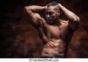 perfecto, cuerpo, vaqueros, desnudo, posar, hombre