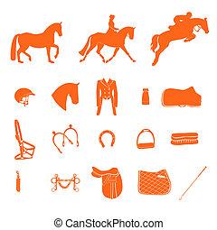 perfecto, equino, icono, conjunto, dibujado