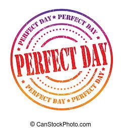 perfecto, estampilla, día