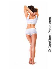 perfecto, lleno, body., delgado, longitud, retrato, vista trasera