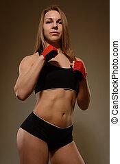 perfecto, mujer, atlético, atleta, physique., culturista, retrato, profesional