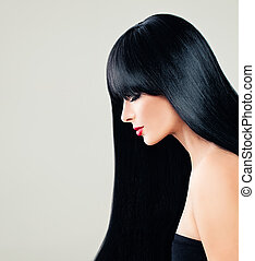 perfecto, mujer, modelo, con, largo, sano, pelo, y, makeup., salón de belleza, plano de fondo