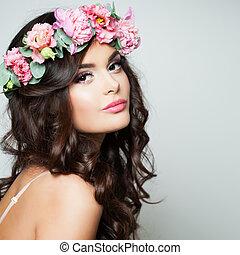 perfecto, mujer, modelo, con, sano, piel, y, flores, wreath., primavera, belleza
