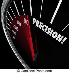 perfecto, palabra, precisión, puntería, apuntar, velocímetro, exactitud