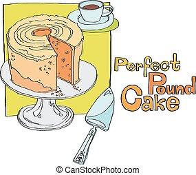 perfecto, pastel, libra