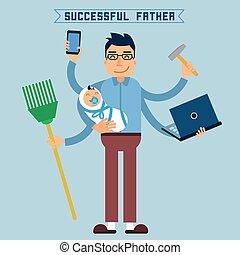 perfecto, plano, estilo, dad., illustration., exitoso,...