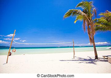 perfecto, playa tropical, con, turquesa, agua, y, arena...