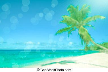 perfecto, playa., vacaciones, tropical, fondo., defocused