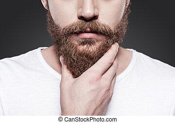 perfecto, posición, primer plano, el suyo, beard., joven, contra, gris, barbudo, mientras, conmovedor, plano de fondo, hombre, barba