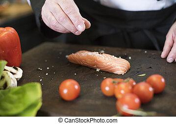 perfecto, sal, salmón, mar