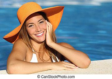 perfecto, sonrisa, niña, blanco, vacaciones