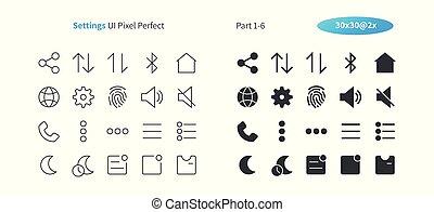perfecto, tela, 30, iconos, simple, 2x, pictogram, línea,...