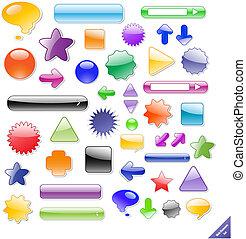 perfecto, tela, elements., creado, texto, colección, icons., añadir, sombras, blends., o, brillante