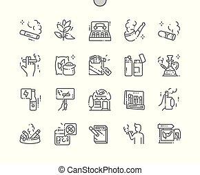 perfecto, tela, vector, tabaco, iconos, simple, 30, 2x, well-crafted, apps., cuadrícula, delgado, gráficos, línea, pixel, mínimo, pictogram