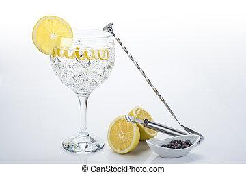 perfecto, torsión, tónico, limón, ginebra