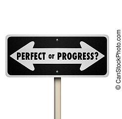 perfeitos, à frente, apontando seta, sinais, progresso, ou, estrada