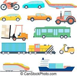 perfeitos, apartamento, car, ilustração, avião, vetorial, icons., icon., navio, transporte