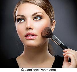 perfeitos, aplicando, makeup., cosméticos, maquiagem, brush.