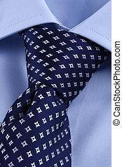 perfeitos, camisa azul, negócio, nó, laço