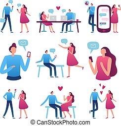 perfeitos, cego, mulher, romanticos, serviço, online, par., ilustração, vetorial, reunião, conversa, internet, data, namorando, partida, homem
