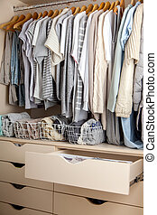 perfeitos, clothes., guarda-roupa, shades., roupas, armazenamento, ordem