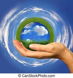 perfeitos, conceito, de, um, limpo, planeta, dentro, alcance