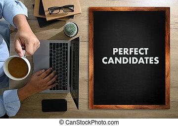 perfeitos, conceito, financeiro, negócio, laptop, mãos, relatórios, candidatos, trabalho equipe