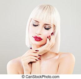 perfeitos, cute, menina mulher, penteado, maquilagem, moda, model., manicure, bob, loiro