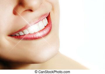 perfeitos, dentes brancos, mulher, sorrizo