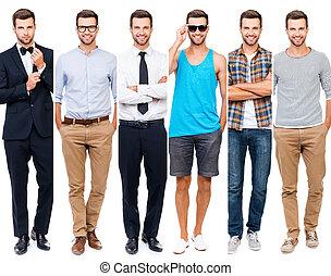 perfeitos, desgastar, diferente, colagem, style., jovem, contra, ficar, olhar, enquanto, câmera, fundo, sorrindo, branca, roupa, qualquer, homem