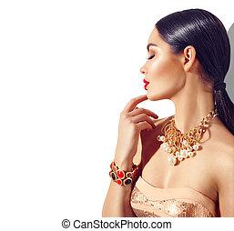perfeitos, dourado, mulher, beleza, maquilagem, jovem, acessórios, moda, morena, excitado, trendy, portrait., modelo, menina