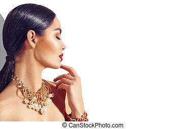 perfeitos, dourado, mulher, maquilagem, jovem, acessórios, trendy, excitado