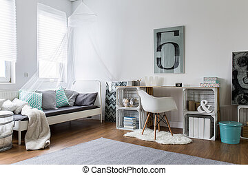 perfeitos, elegante, hipster, cozy, quarto