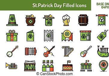 perfeitos, esboço, st.patricks, set., dia, base, 64, desenho, pixel, ícone