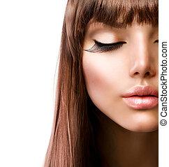 perfeitos, face., moda, makeup., pele