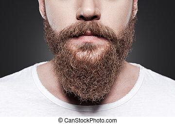 perfeitos, ficar, close-up, beard., jovem, contra, cinzento, barbudo, fundo, homem