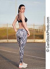 perfeitos, figura, shorts, corredor, vestido, jovem, femininas, desporto, soutien
