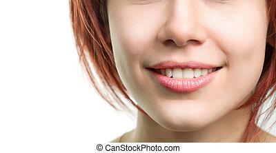 perfeitos, fresco, lábios, mulher, dentes