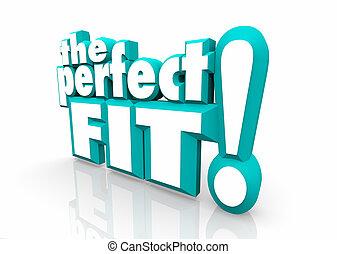 perfeitos, grande, ajustar, candidato, ilustração, escolha,...