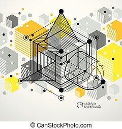 perfeitos, isometric, cubo, vetorial, criado, parts., linhas, amarela, style., abstratos, engenharia, malha, desenho, mecanismo, fundo, desenho mecânico, esquema, seu, projetos
