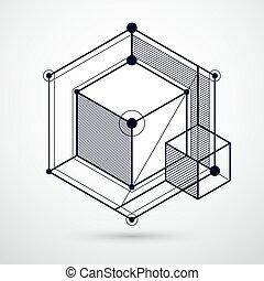 perfeitos, isometric, cubo, vetorial, criado, parts., linhas, projetos, mecanismo, seu, abstratos, engenharia, malha, experiência preta, mecânico, branca, desenho, esquema, style.