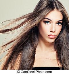 perfeitos, menina, com, longo, saudável, hairstyle., mulher bonita, modelo moda, com, cabelo marrom