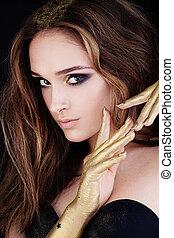 perfeitos, menina, modelo moda, com, artisticos, maquilagem