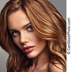perfeitos, moda, beleza natural, maquilagem, mulher jovem, estúdio, loura, pele, retrato, posar, modelo