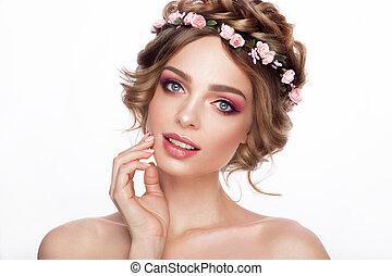 perfeitos, moda, hairstyle., beleza, compor, criativo, cabelo, menina, bride., hair., modelo, flores, style.